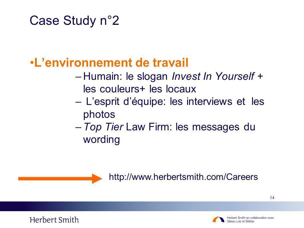 14 Case Study n°2 Lenvironnement de travail –Humain: le slogan Invest In Yourself + les couleurs+ les locaux – Lesprit déquipe: les interviews et les