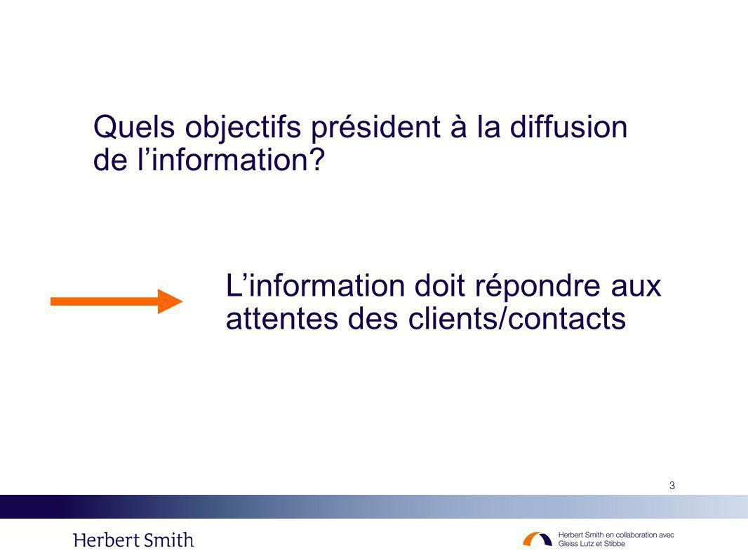 3 Quels objectifs président à la diffusion de linformation? Linformation doit répondre aux attentes des clients/contacts