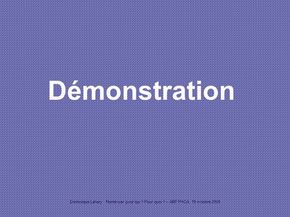 Dominique Lahary : Numériser pour qui Pour quoi – ABF PACA, 19 octobre 2009 Démonstration