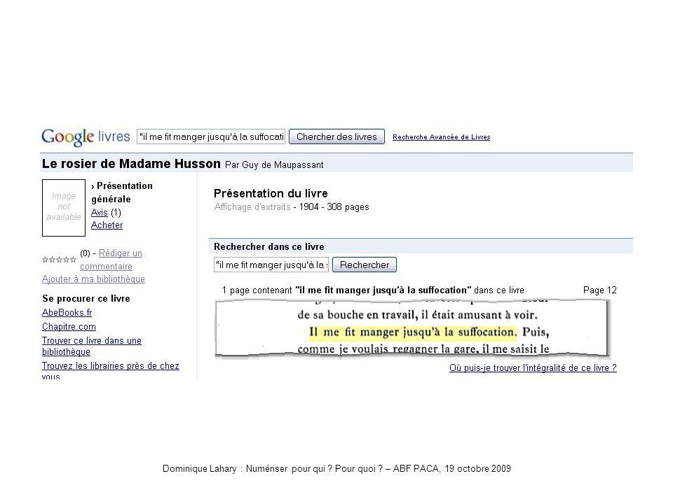 Dominique Lahary : Numériser pour qui Pour quoi – ABF PACA, 19 octobre 2009 Démo2-Google