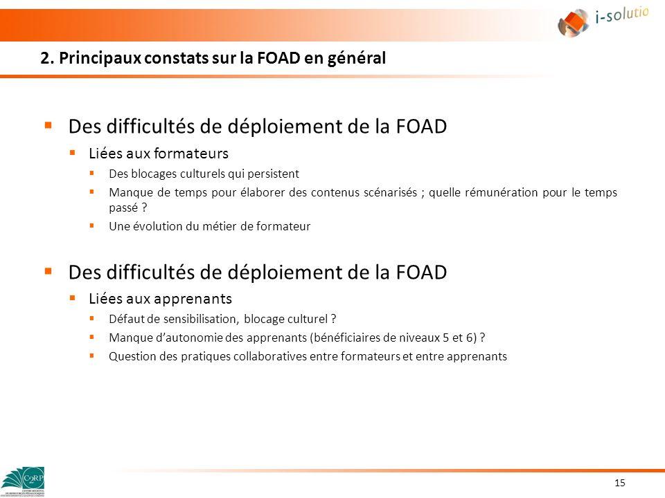 2. Principaux constats sur la FOAD en général Des difficultés de déploiement de la FOAD Liées aux formateurs Des blocages culturels qui persistent Man