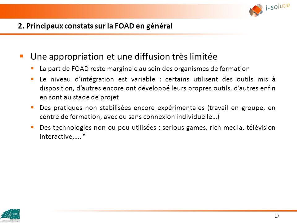 2. Principaux constats sur la FOAD en général Une appropriation et une diffusion très limitée La part de FOAD reste marginale au sein des organismes d
