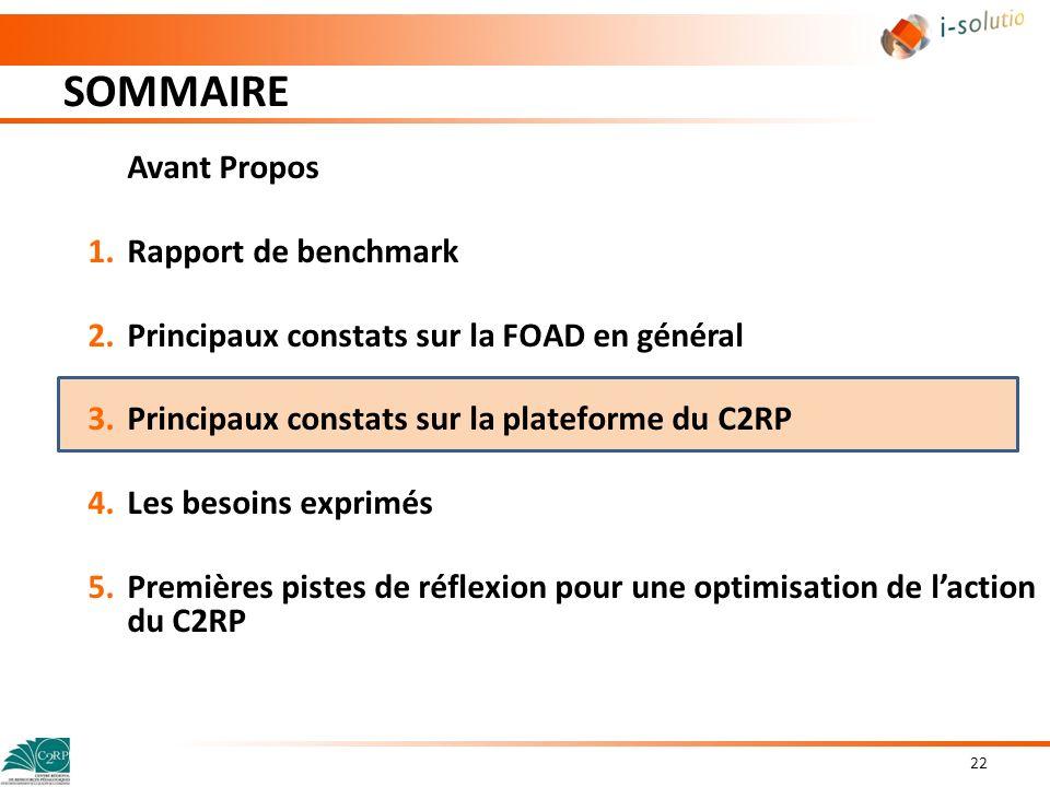 SOMMAIRE 22 Avant Propos 1.Rapport de benchmark 2.Principaux constats sur la FOAD en général 3.Principaux constats sur la plateforme du C2RP 4.Les bes
