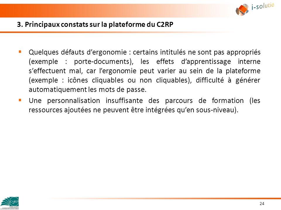 3. Principaux constats sur la plateforme du C2RP Quelques défauts dergonomie : certains intitulés ne sont pas appropriés (exemple : porte-documents),