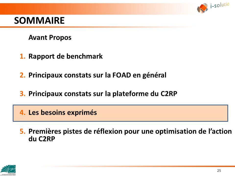 SOMMAIRE 25 Avant Propos 1.Rapport de benchmark 2.Principaux constats sur la FOAD en général 3.Principaux constats sur la plateforme du C2RP 4.Les bes
