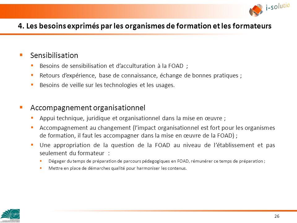 4. Les besoins exprimés par les organismes de formation et les formateurs Sensibilisation Besoins de sensibilisation et dacculturation à la FOAD ; Ret