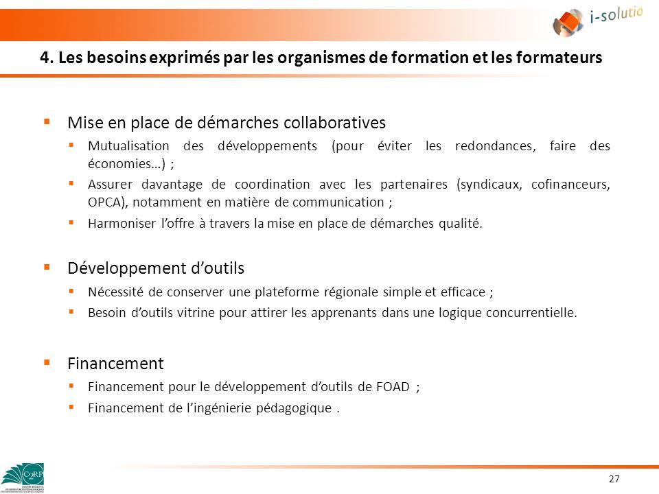 4. Les besoins exprimés par les organismes de formation et les formateurs Mise en place de démarches collaboratives Mutualisation des développements (