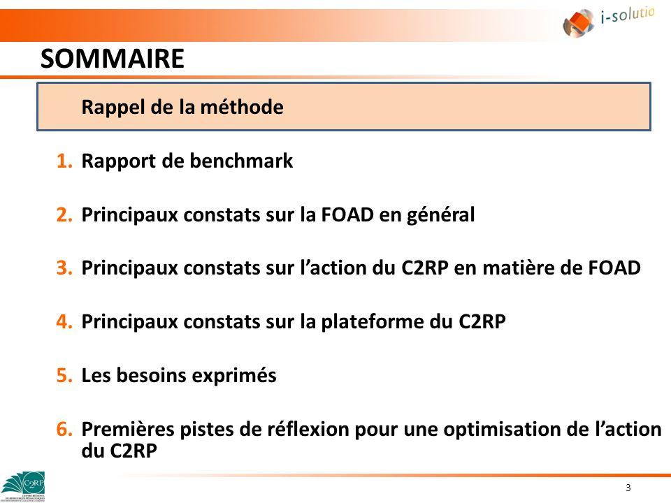 SOMMAIRE 14 Rappel de la méthode 1.Rapport de benchmark 2.Principaux constats sur la FOAD en général 3.Principaux constats sur la plateforme du C2RP 4.Les besoins exprimés 5.Premières pistes de réflexion pour une optimisation de laction du C2RP