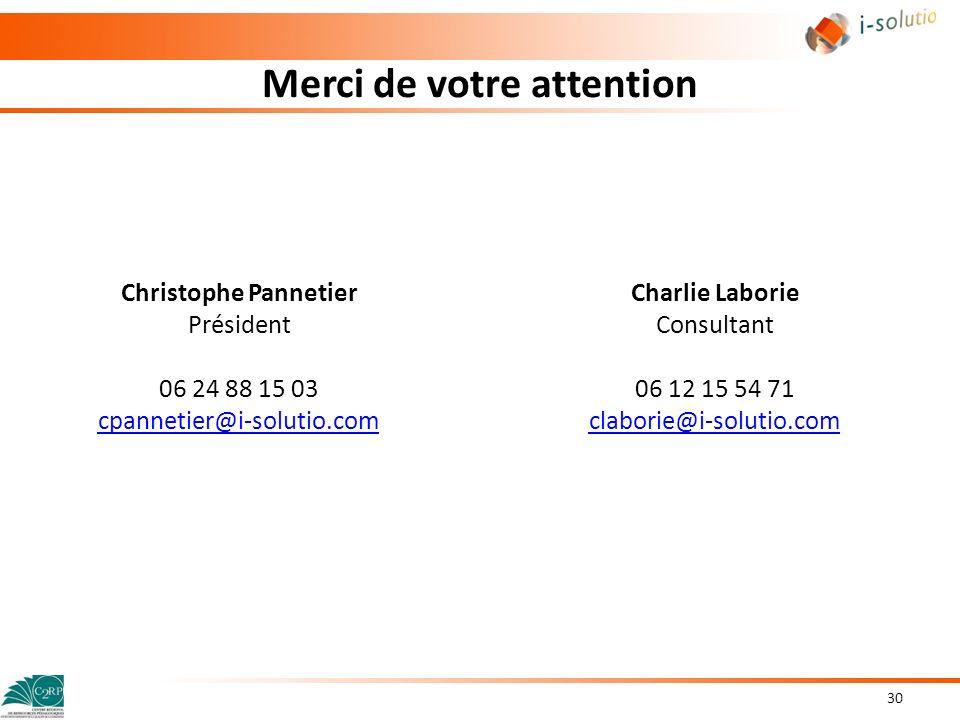Merci de votre attention Christophe Pannetier Président 06 24 88 15 03 cpannetier@i-solutio.com 30 Charlie Laborie Consultant 06 12 15 54 71 claborie@