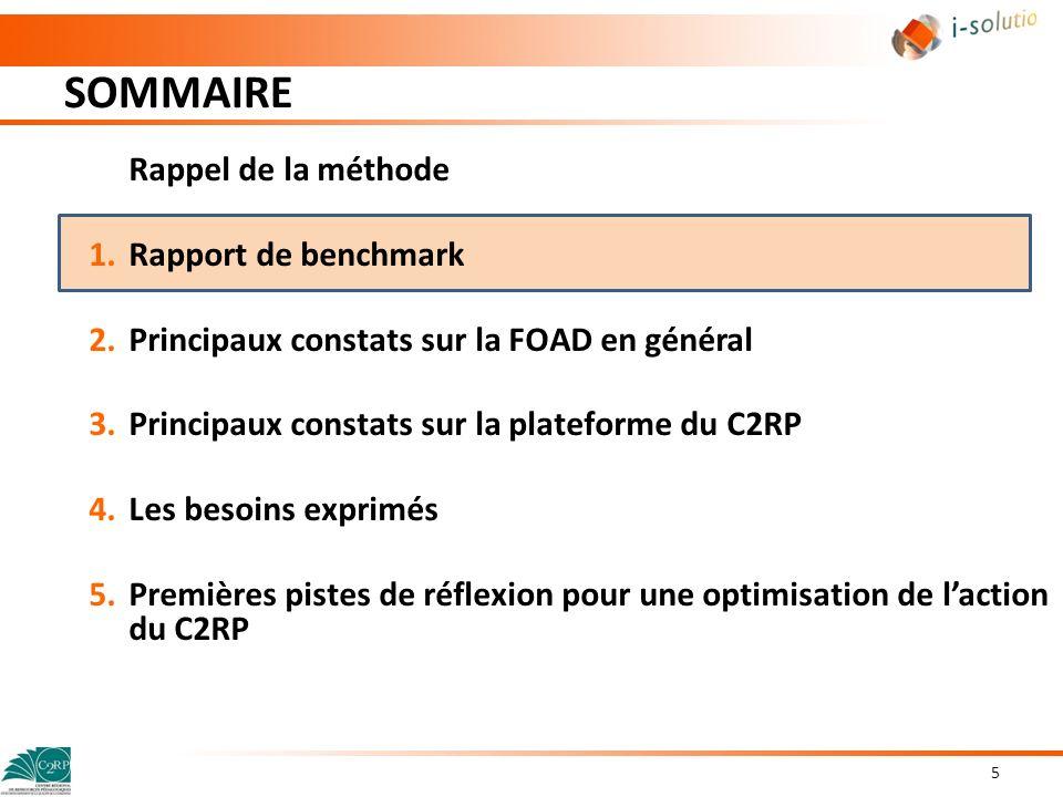 SOMMAIRE 5 Rappel de la méthode 1.Rapport de benchmark 2.Principaux constats sur la FOAD en général 3.Principaux constats sur la plateforme du C2RP 4.