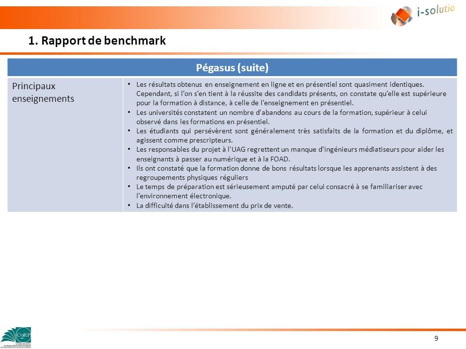 1. Rapport de benchmark 9 Pégasus (suite) Principaux enseignements Les résultats obtenus en enseignement en ligne et en présentiel sont quasiment iden