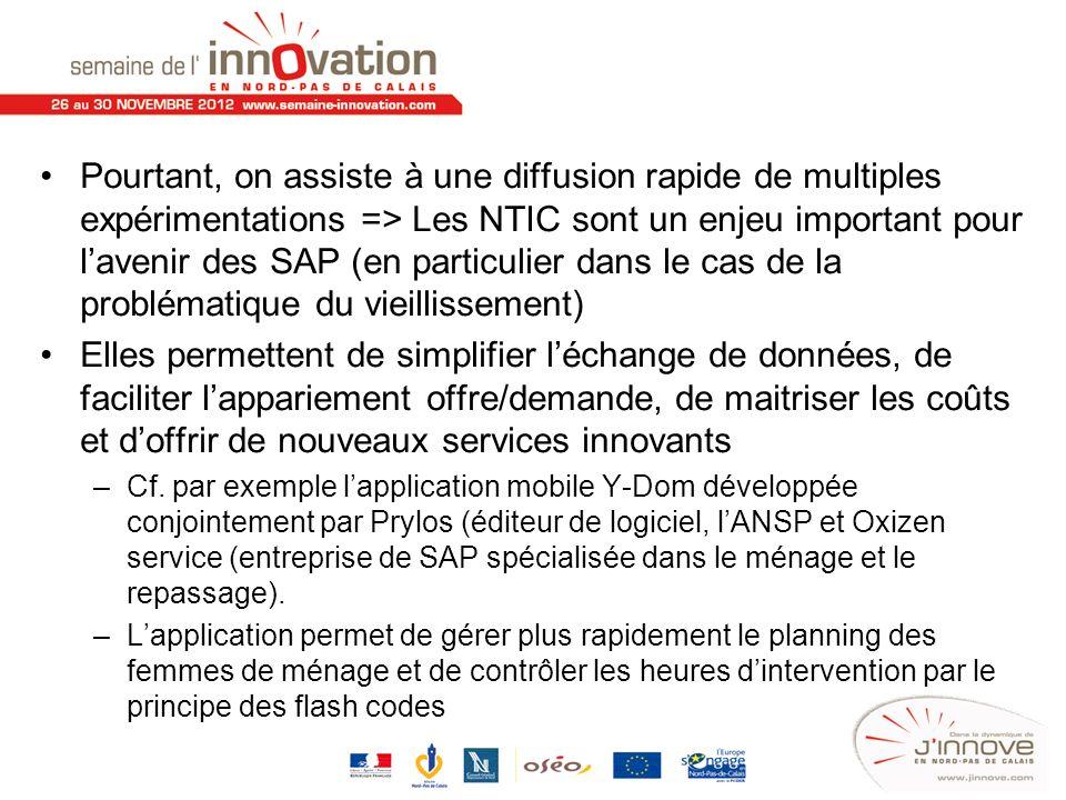 Pourtant, on assiste à une diffusion rapide de multiples expérimentations => Les NTIC sont un enjeu important pour lavenir des SAP (en particulier dan