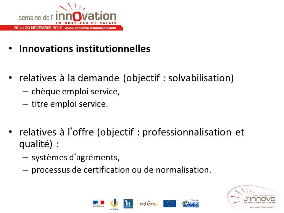 Innovations institutionnelles relatives à la demande (objectif : solvabilisation) – chèque emploi service, – titre emploi service. relatives à loffre