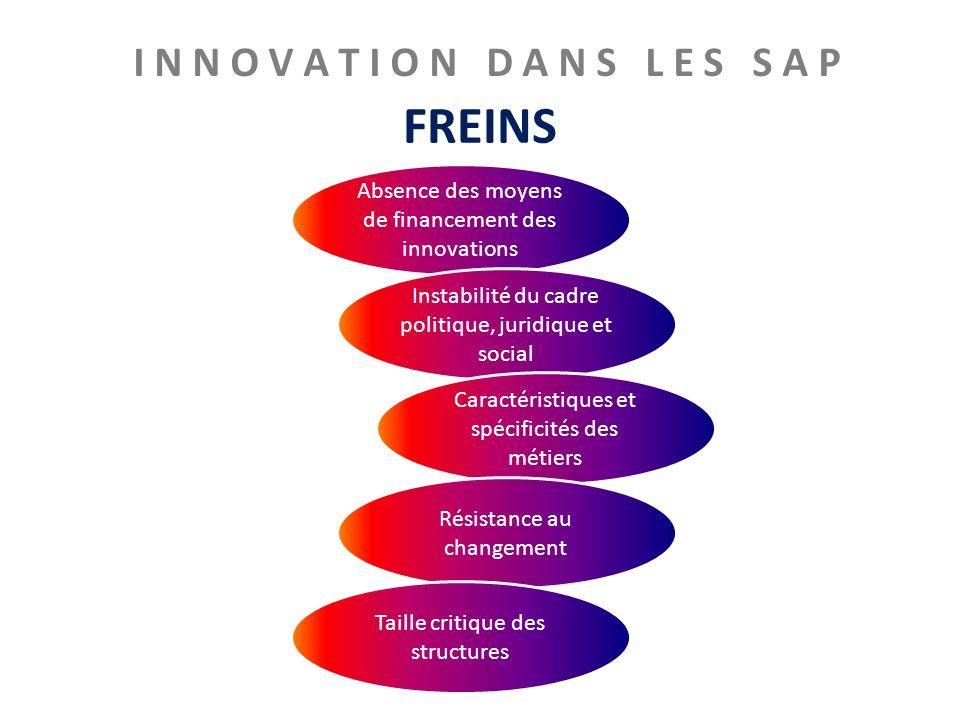 I N N O V A T I O N D A N S L E S S A P FREINS Absence des moyens de financement des innovations Instabilité du cadre politique, juridique et social C