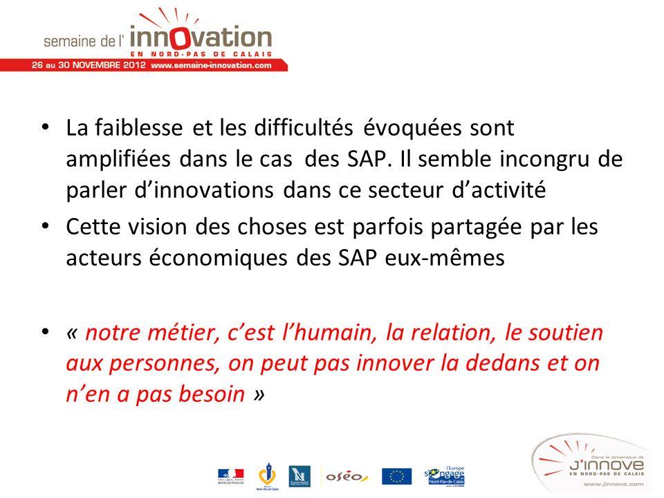 La faiblesse et les difficultés évoquées sont amplifiées dans le cas des SAP. Il semble incongru de parler dinnovations dans ce secteur dactivité Cett