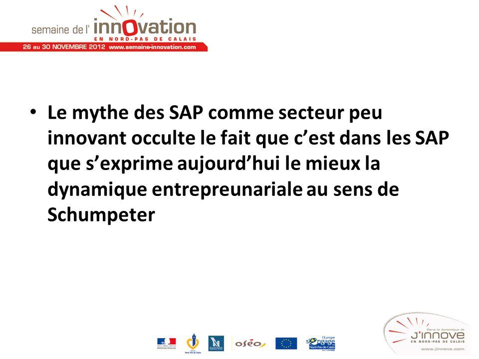 Le mythe des SAP comme secteur peu innovant occulte le fait que cest dans les SAP que sexprime aujourdhui le mieux la dynamique entrepreunariale au se