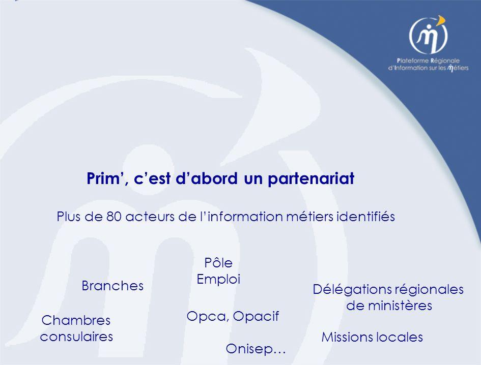 Délégations régionales de ministères Plus de 80 acteurs de linformation métiers identifiés Prim, cest dabord un partenariat Branches Chambres consulaires Opca, Opacif Pôle Emploi Missions locales Onisep…