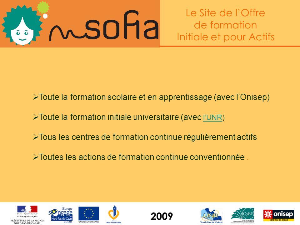 Le Site de lOffre de formation Initiale et pour Actifs 2009 Les infos clés pour le Pôle Emploi