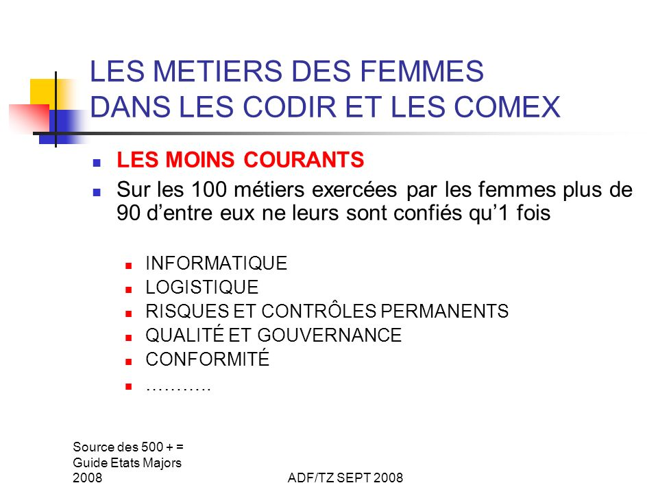 Source des 500 + = Guide Etats Majors 2008ADF/TZ SEPT 2008 LES METIERS DES FEMMES DANS LES CODIR ET LES COMEX LES MOINS COURANTS Sur les 100 métiers e