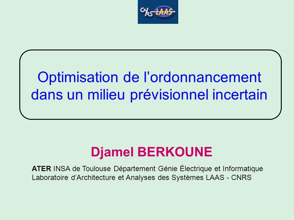 Djamel BERKOUNE ATER INSA de Toulouse Département Génie Électrique et Informatique Laboratoire dArchitecture et Analyses des Systèmes LAAS - CNRS Opti