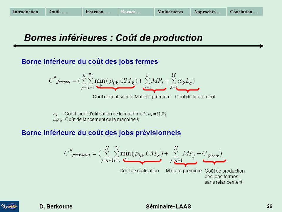 D. Berkoune Séminaire- LAAS 26 Borne inférieure du coût des jobs fermes Borne inférieure du coût des jobs prévisionnels k : Coefficient d'utilisation