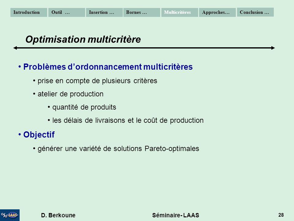 D. Berkoune Séminaire- LAAS 28 Problèmes dordonnancement multicritères prise en compte de plusieurs critères atelier de production quantité de produit