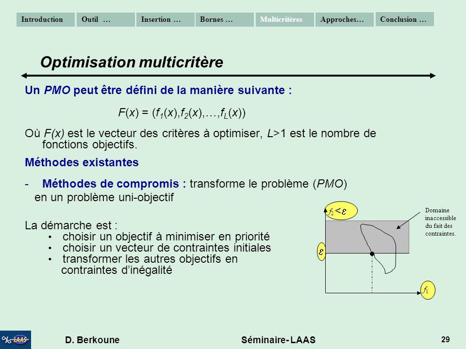 D. Berkoune Séminaire- LAAS 29 < Un PMO peut être défini de la manière suivante : F(x) = (f 1 (x),f 2 (x),…,f L (x)) Où F(x) est le vecteur des critèr