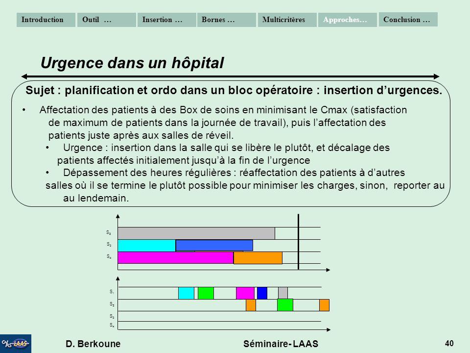 D. Berkoune Séminaire- LAAS 40 Sujet : planification et ordo dans un bloc opératoire : insertion durgences. Affectation des patients à des Box de soin
