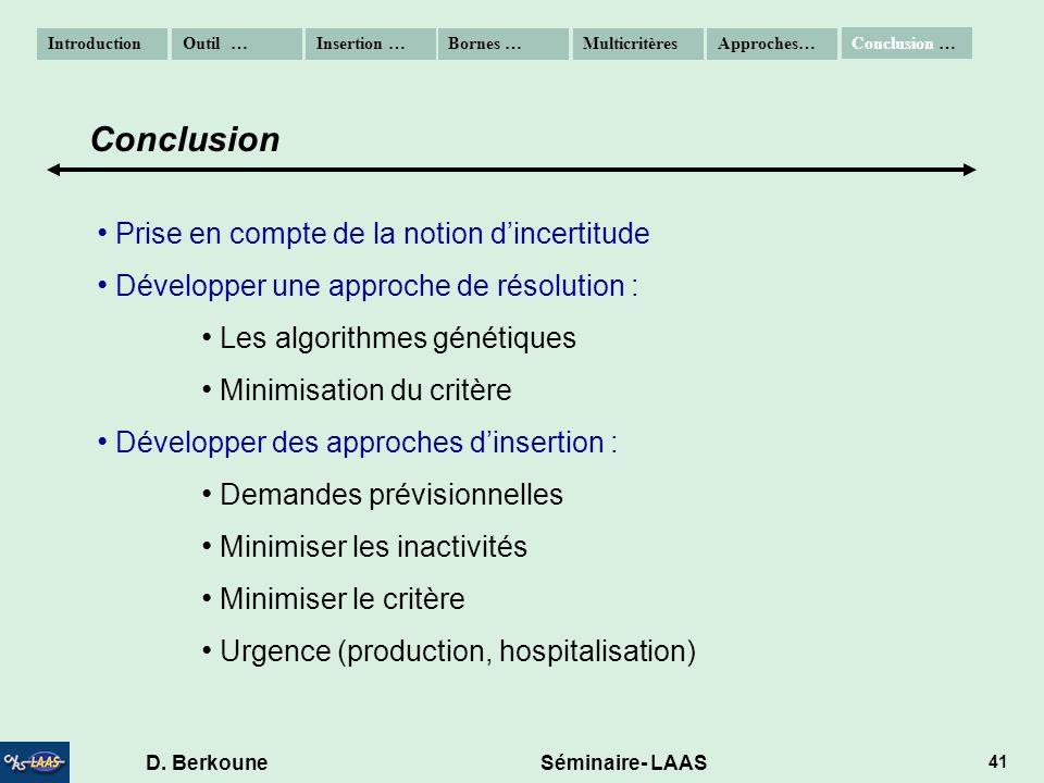 D. Berkoune Séminaire- LAAS 41 Prise en compte de la notion dincertitude Développer une approche de résolution : Les algorithmes génétiques Minimisati