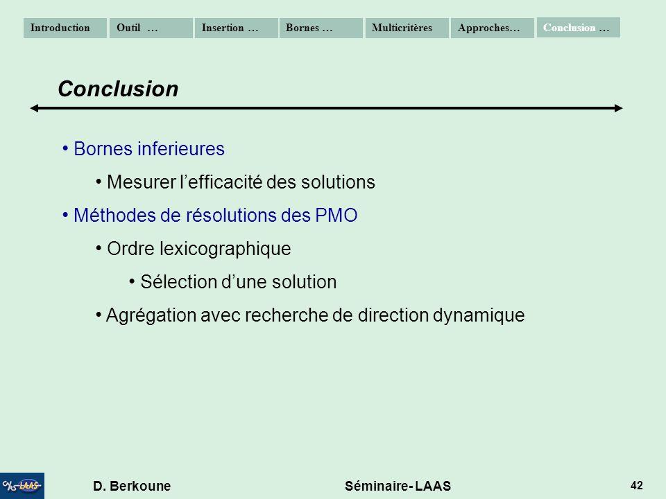 D. Berkoune Séminaire- LAAS 42 Bornes inferieures Mesurer lefficacité des solutions Méthodes de résolutions des PMO Ordre lexicographique Sélection du