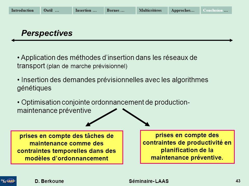 D. Berkoune Séminaire- LAAS 43 Application des méthodes dinsertion dans les réseaux de transport (plan de marche prévisionnel) Insertion des demandes