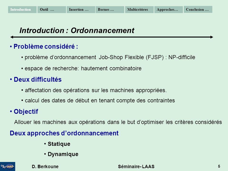 D. Berkoune Séminaire- LAAS 5 Problème considéré : problème dordonnancement Job-Shop Flexible (FJSP) : NP-difficile espace de recherche: hautement com