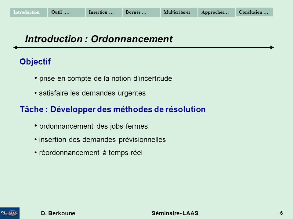 D. Berkoune Séminaire- LAAS 6 Objectif prise en compte de la notion dincertitude satisfaire les demandes urgentes Tâche : Développer des méthodes de r