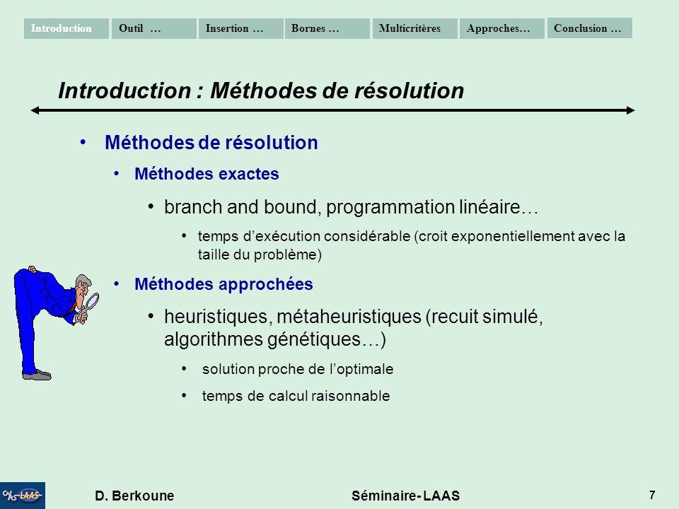 D. Berkoune Séminaire- LAAS 7 Méthodes de résolution Méthodes exactes branch and bound, programmation linéaire… temps dexécution considérable (croit e