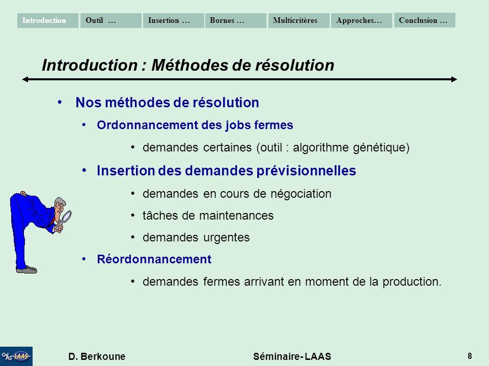 D. Berkoune Séminaire- LAAS 8 Nos méthodes de résolution Ordonnancement des jobs fermes demandes certaines (outil : algorithme génétique) Insertion de