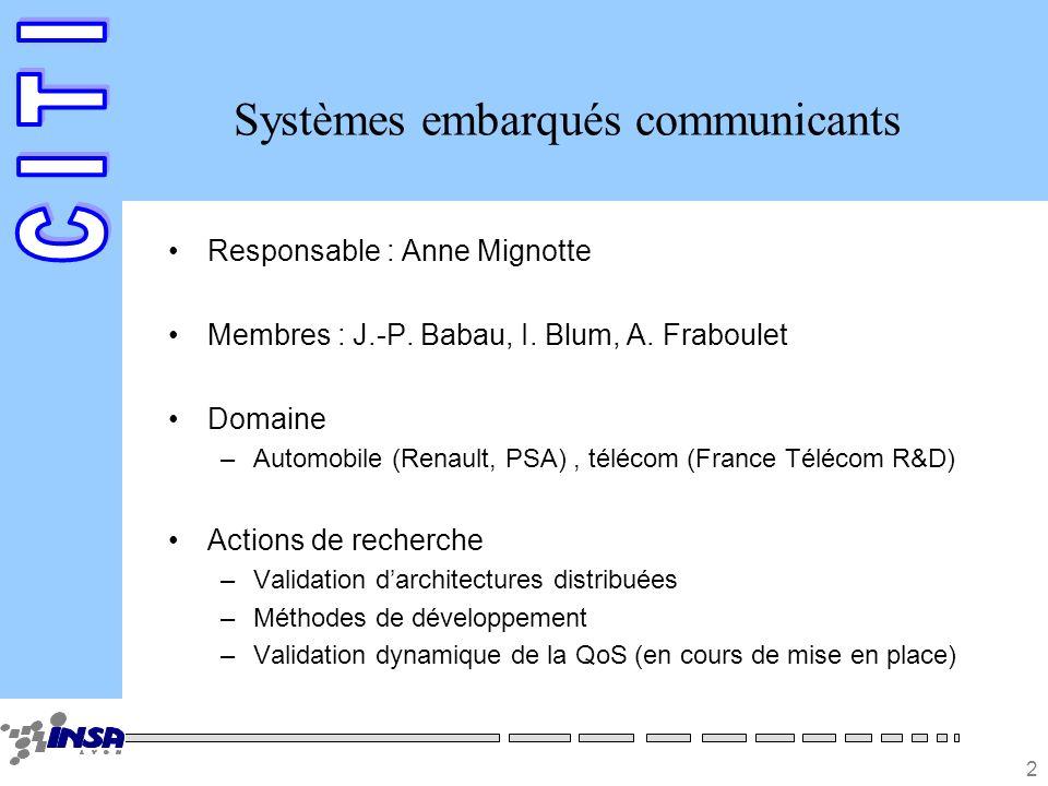 2 Systèmes embarqués communicants Responsable : Anne Mignotte Membres : J.-P. Babau, I. Blum, A. Fraboulet Domaine –Automobile (Renault, PSA), télécom