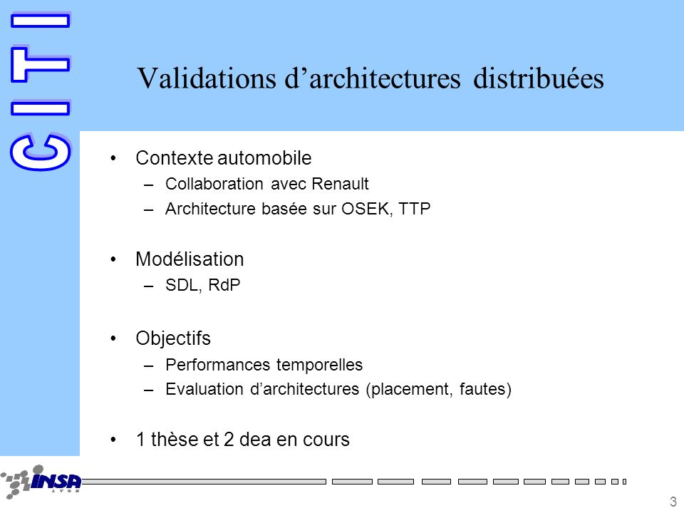 3 Validations darchitectures distribuées Contexte automobile –Collaboration avec Renault –Architecture basée sur OSEK, TTP Modélisation –SDL, RdP Objectifs –Performances temporelles –Evaluation darchitectures (placement, fautes) 1 thèse et 2 dea en cours