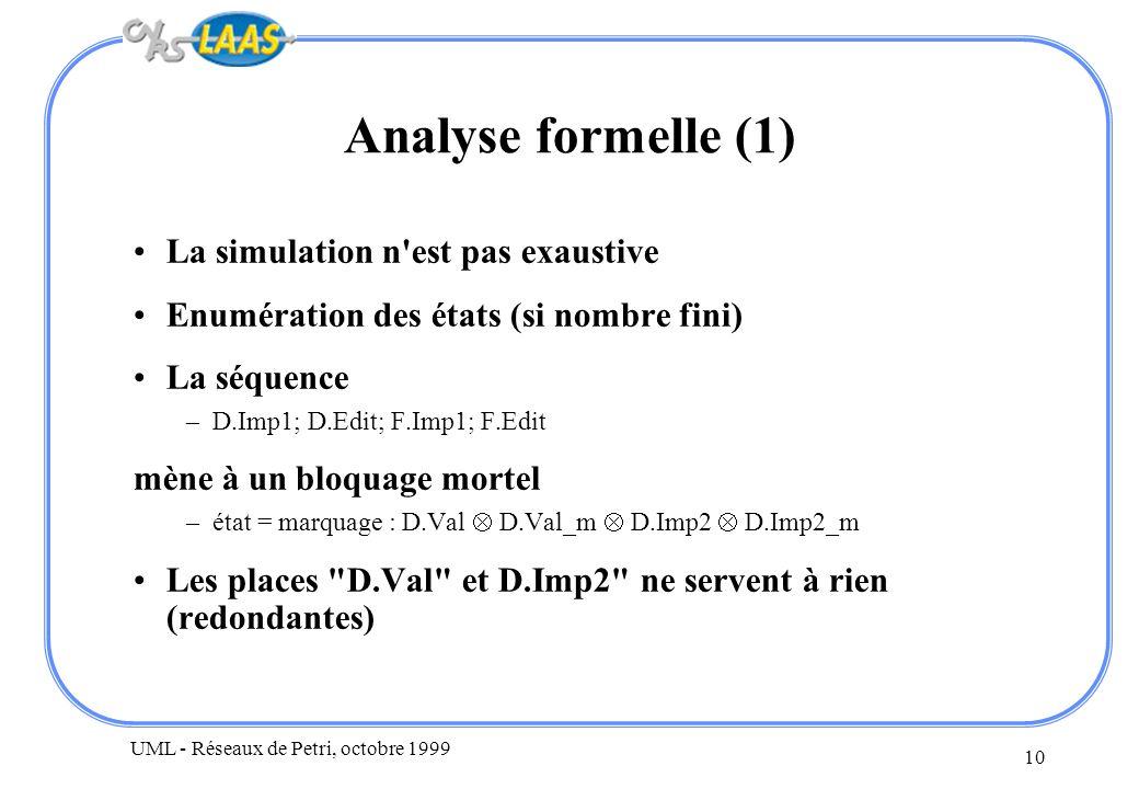 UML - Réseaux de Petri, octobre 1999 10 Analyse formelle (1) La simulation n'est pas exaustive Enumération des états (si nombre fini) La séquence –D.I