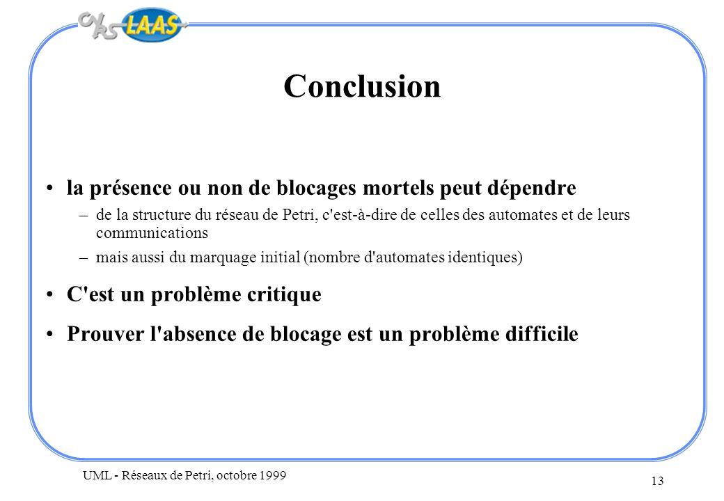 UML - Réseaux de Petri, octobre 1999 13 Conclusion la présence ou non de blocages mortels peut dépendre –de la structure du réseau de Petri, c'est-à-d