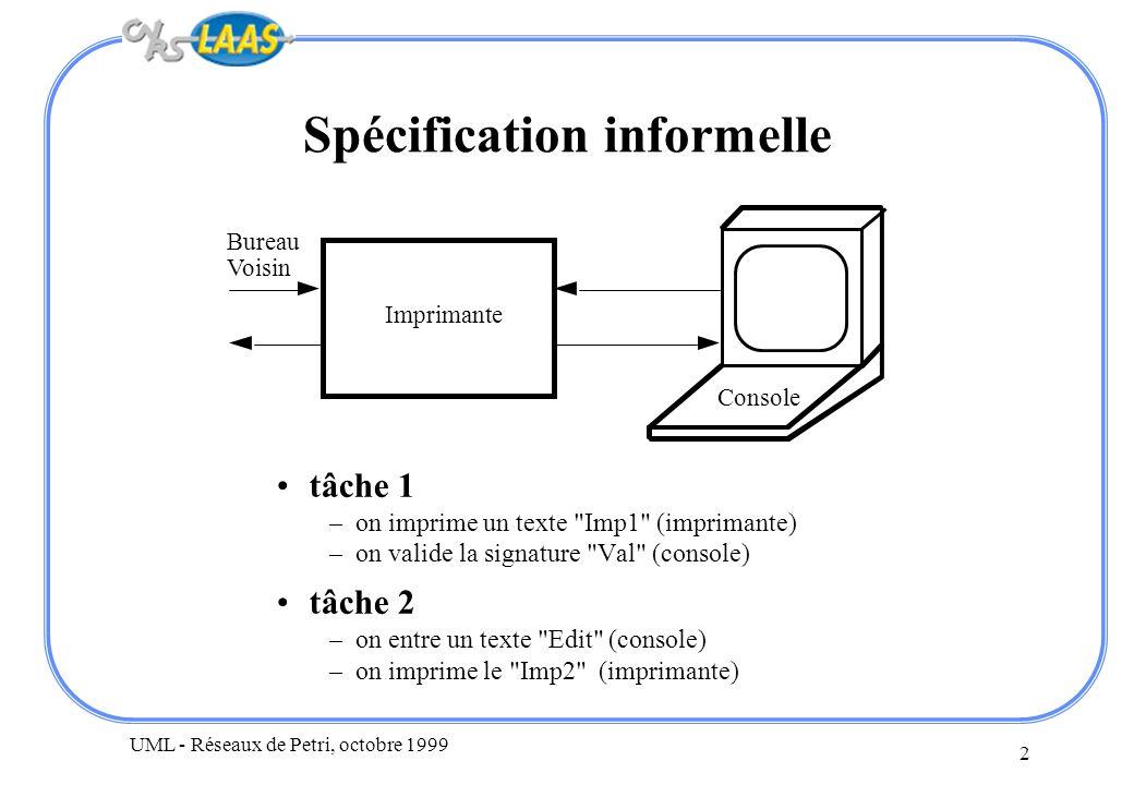 UML - Réseaux de Petri, octobre 1999 13 Conclusion la présence ou non de blocages mortels peut dépendre –de la structure du réseau de Petri, c est-à-dire de celles des automates et de leurs communications –mais aussi du marquage initial (nombre d automates identiques) C est un problème critique Prouver l absence de blocage est un problème difficile