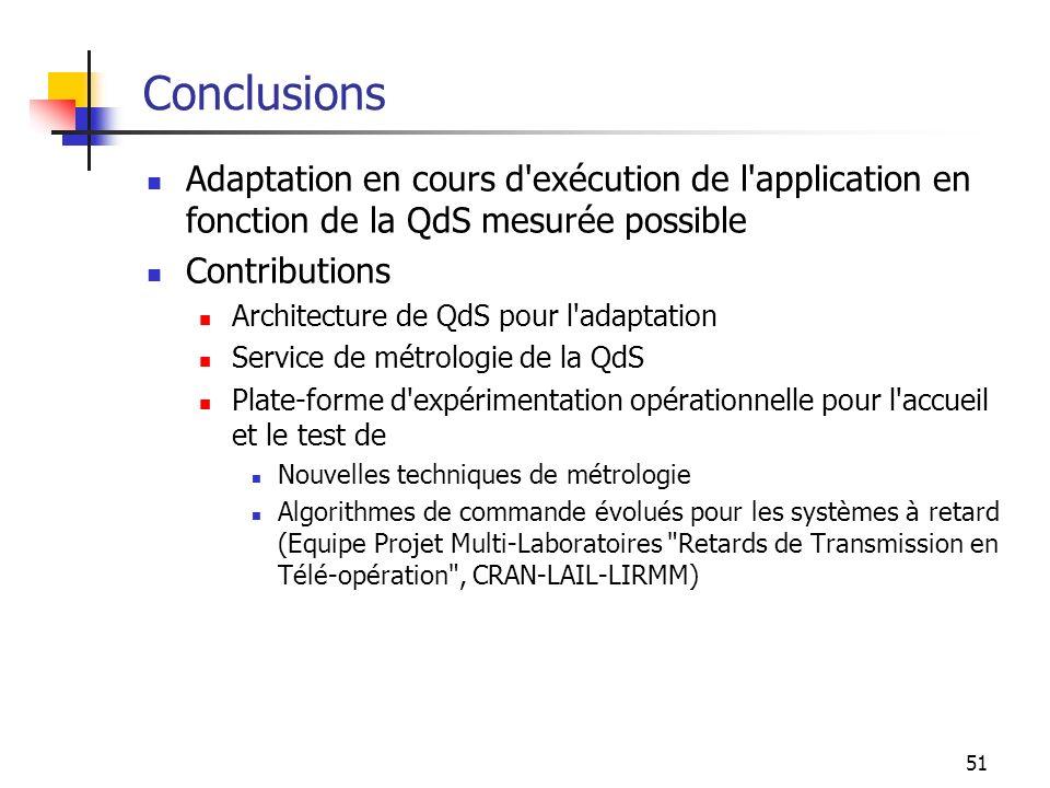 51 Conclusions Adaptation en cours d'exécution de l'application en fonction de la QdS mesurée possible Contributions Architecture de QdS pour l'adapta
