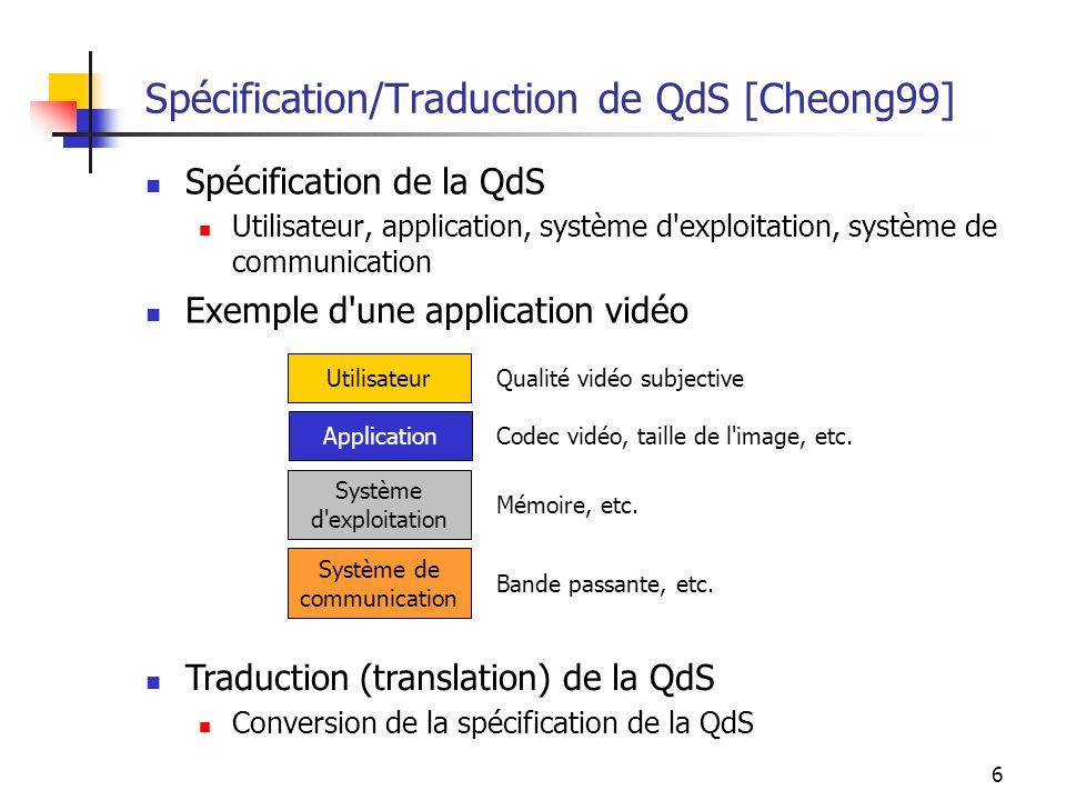 6 Spécification/Traduction de QdS [Cheong99] Spécification de la QdS Utilisateur, application, système d'exploitation, système de communication Exempl