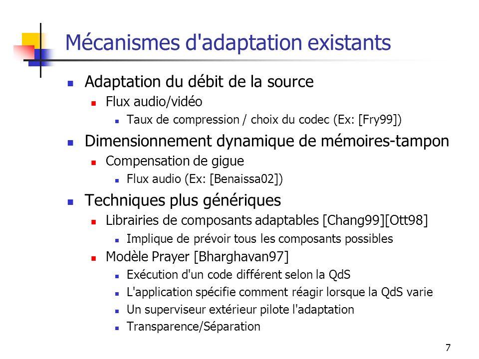 7 Mécanismes d'adaptation existants Adaptation du débit de la source Flux audio/vidéo Taux de compression / choix du codec (Ex: [Fry99]) Dimensionneme