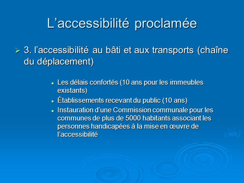 Laccessibilité proclamée 3. laccessibilité au bâti et aux transports (chaîne du déplacement) 3. laccessibilité au bâti et aux transports (chaîne du dé