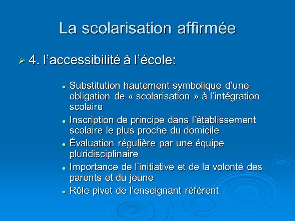 La scolarisation affirmée 4. laccessibilité à lécole: 4. laccessibilité à lécole: Substitution hautement symbolique dune obligation de « scolarisation