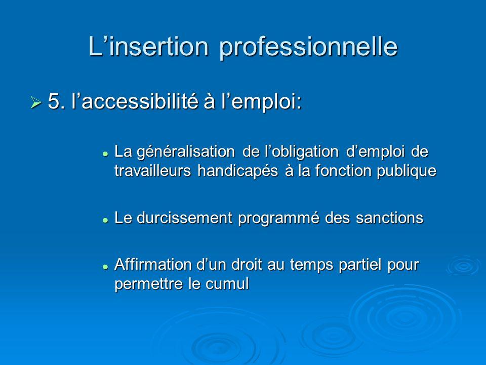 Linsertion professionnelle 5. laccessibilité à lemploi: 5. laccessibilité à lemploi: La généralisation de lobligation demploi de travailleurs handicap