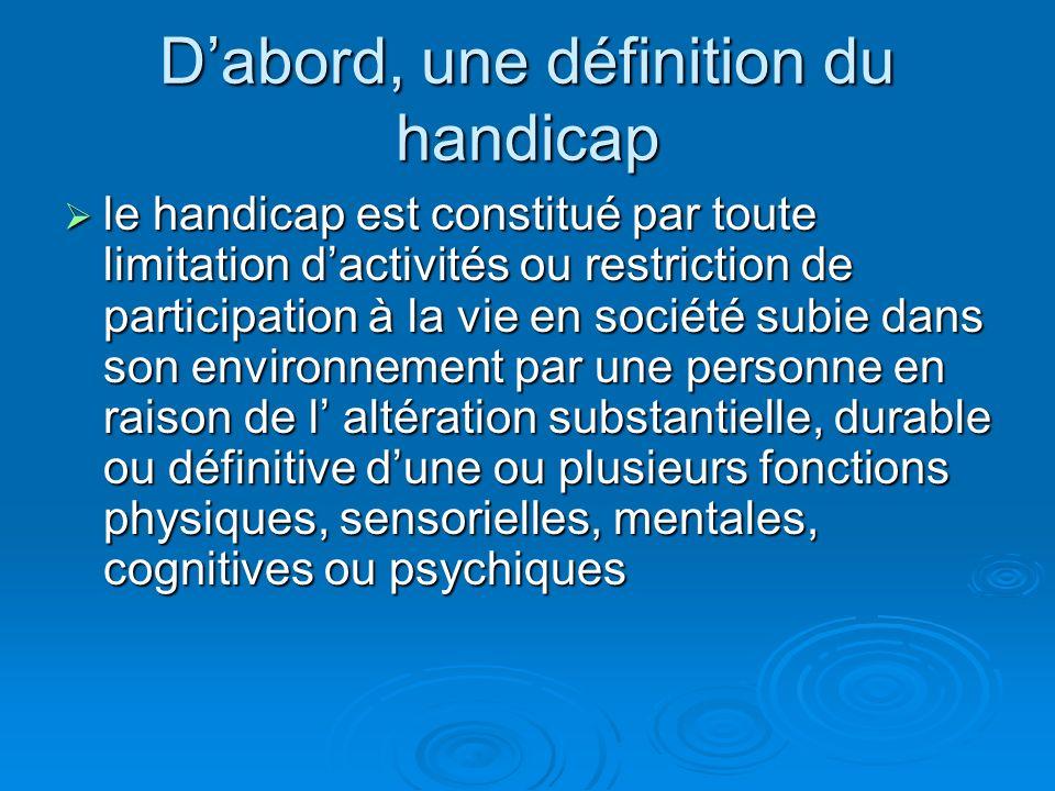 Dabord, une définition du handicap le handicap est constitué par toute limitation dactivités ou restriction de participation à la vie en société subie