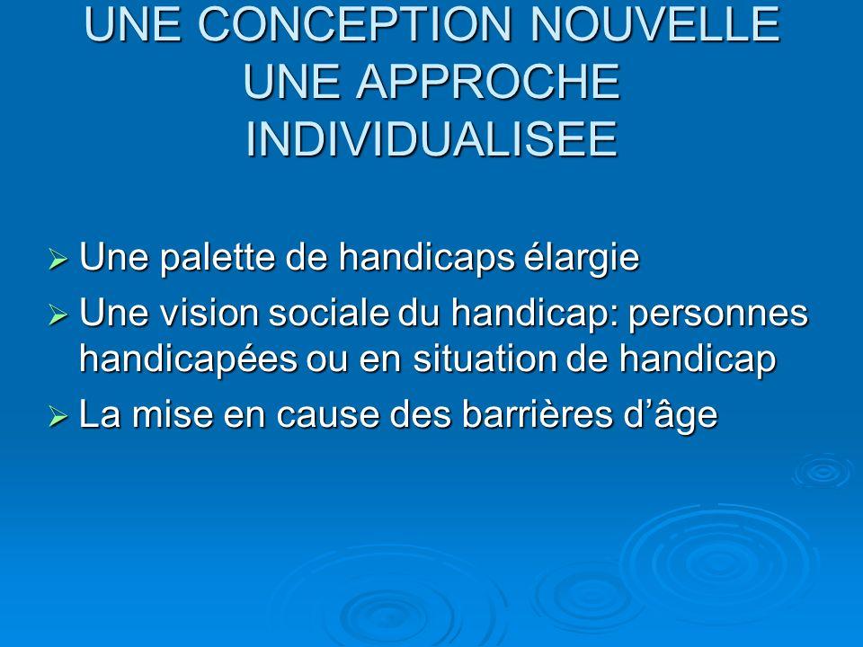 UNE CONCEPTION NOUVELLE UNE APPROCHE INDIVIDUALISEE Une palette de handicaps élargie Une palette de handicaps élargie Une vision sociale du handicap: