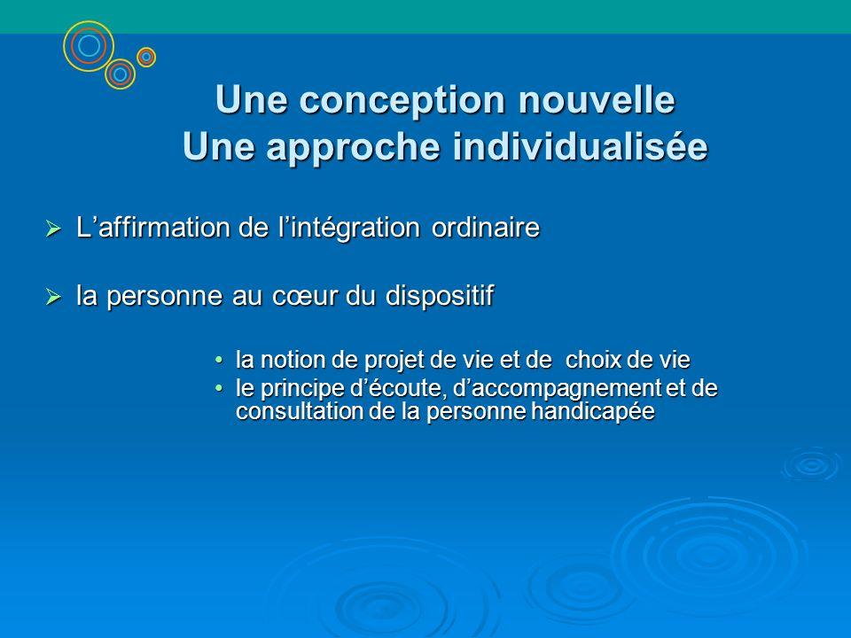 Une conception nouvelle Une approche individualisée Laffirmation de lintégration ordinaire Laffirmation de lintégration ordinaire la personne au cœur