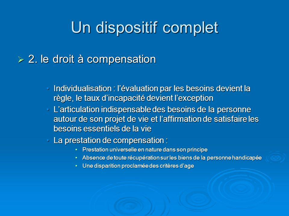 Un dispositif complet 2. le droit à compensation 2. le droit à compensation Individualisation : lévaluation par les besoins devient la règle, le taux